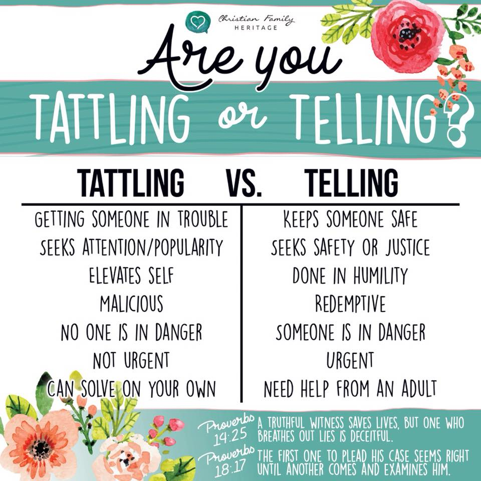 Tattling Vs Telling Growing Families Educational Services