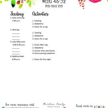 Sample Sleep Schedule Week 46-52